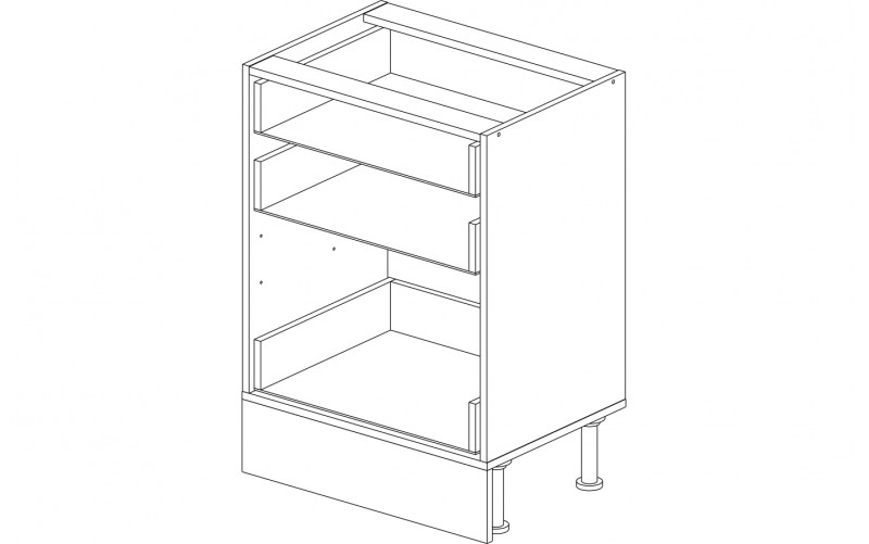 Корпус кухонный рабочий стол 60 см. с 3-мя ящиками