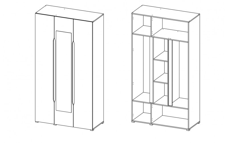"""Шкаф 3-х створчатый """"Вега ШК 3ств"""" с зеркалом"""