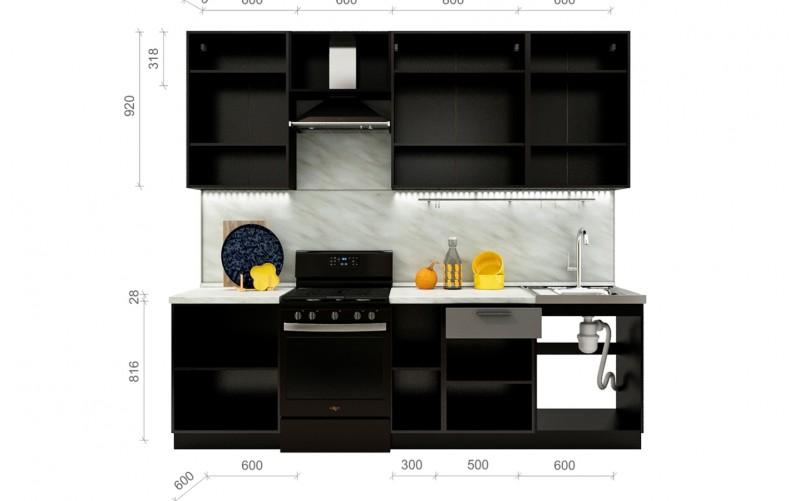 "Кухонный гарнитур ""Глетчер"" Комплектация 1.8Н 2600 мм."